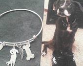 Custom Pet Portrait TaGette Adjustable Bangle Bracelet .. Sterling Silver Dog silhouette Maltese Jewelry Memorialize Keepsake