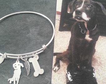 Custom Pet Portrait TaGette Adjustable Bangle Bracelet .. Sterling Silver Dog silhouette Jewelry Memorialize Keepsake