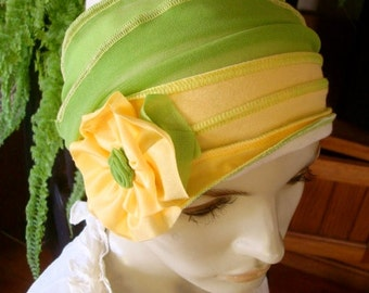 Womens Lemon Gold Hat Beanie Chemo Hat Soft Comfortable With Yellow Flower