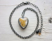 Bumblebee Jasper Necklace, Heart Necklace, Sterling Silver, Statement Necklace... Be Love...