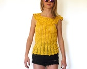 70s Woodstock Yellow Open Knit Cape Collar Top xxs xs