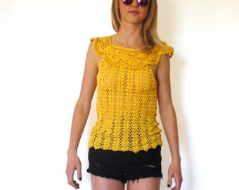 70s Woodstock Yellow Open Knit Cape Collar Top xxs xs