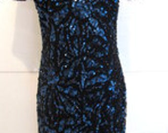 Sequin Cocktail Dress.  Sequin Formal Midi Dress. Adrianna Papell Blue Sequin Dress. Sparkle Evening Dress.