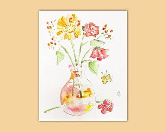 Original Flower Painting, Watercolor Painting, unique gift for mom, bouquet painting, gift for girlfriend, wife, watercolor flowers