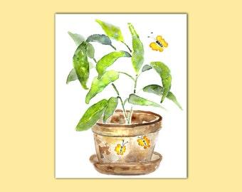 Bathroom Print, Plant Print, cottage decor, Bathroom Painting, green, yellow, whimsical flower art, butterfly art