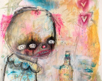 Creepy Cute Clown Girl Original Painting. whimsical art, lowbrow art, abstract painting, fine art, modern art, pastel painting, primitive