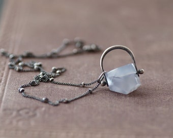 Blue Chalcedony on Sterling Necklace - Beaded Chain - Antique Finish