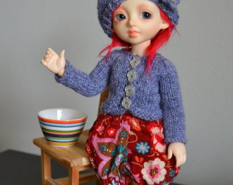SALE Lilac flowers, cardigan and hat for Littlefee, YOSD etc.