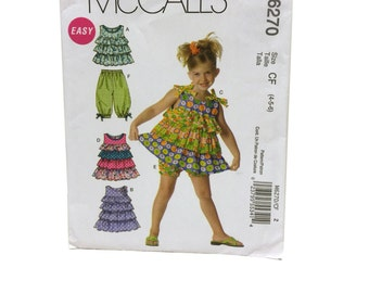 McCall's M6270 Girl's Top Pattern, Girls Dress Pattern, Girls Shorts Pattern, Girls Capri Pants Pattern, Size 4 Size 5 Size 6 Sewing Pattern