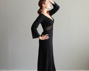 Vintage 1970s Knit Dress - 70s Sweater Dress - Bewitching Maxi Dress