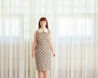 Vintage 1960s Graphic Print Dress - 60s Shift Dress - Lock & Key Dress