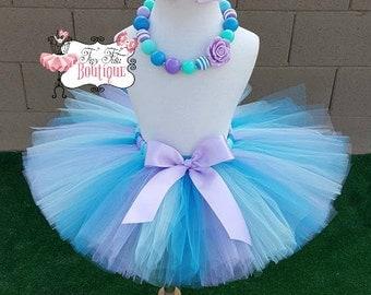 AQUA MERMAID - Aqua, Blue, Lavender baby/child Tutu Set:  Newborn-5T