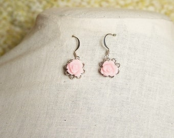 Handmade Earrings Pink Rose Earrings Pink Earrings Pink Flower Pink Rose Dangle Pink Dangle Earrings Pink Bridesmaids Pink Wedding Jewelry