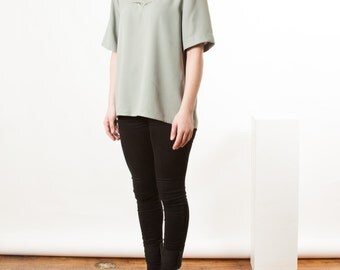 Basic Silky Mint Top / Vintage Oversized Shirt / Mint Summer Top
