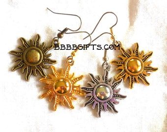 Sun Charm Earrings - Surgical Steel French Hooks SALE USA Choose Finish Antiqued