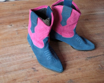 Vintage 1980's Pink and Blue Suede Cowboy Boots // 80s Colourful Western Boots // Cowgirl