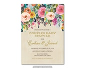 Couples Baby Shower Invitation, Couples Shower,  Printable Shower Invitation, Floral Couples Shower Invite,  0513