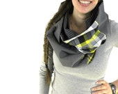 GREY INFINITY SCARF - Circle Scarf - Cowl Scarf - Plaid Scarf - Yellow Scarf - Chunky Scarf - Hipster Scarf - Cool Scarf - Upcycled Clothing