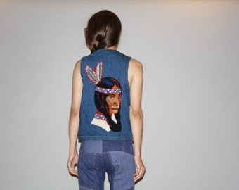 1980s Vintage Indian Chief First Nations Native American Feather Head dress novelty denim jean vest  - Vintage Jean Vest  -  WO0704