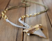 Shark Tooth Double Brass Chain Layering Necklace/ Mixed Metal Gold Silver Brass Chain Layering Necklace Double Chain (NMG15)