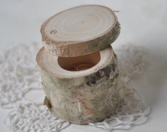 birch wood ring box for wedding decor •  ring bearer pillow