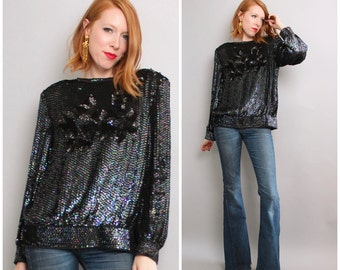 1980's Sequined Top / Black Beaded Sequin Shift / Large