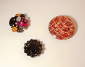 Set of 3 Gorgeous Recycled Vintage Red and Black Rhinestone Cluster and Button Earring Frig Magnets