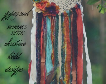 Gypsy Soul Summer - Woodland rustic boho dreamcatcher with silk flowers