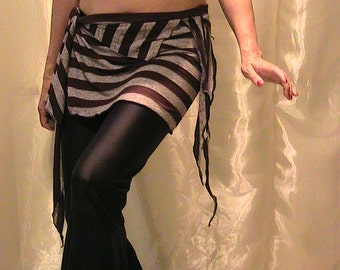 Belly dance hip scarf, ATS hip skirt, cover up with Dark Chocolate and Gray stripes  L - XL