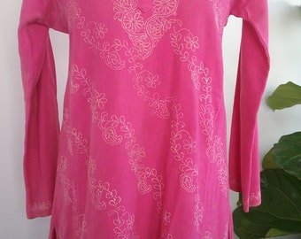 70s PINK COTTON TUNIC—Beach Cover-Up—White Embroidery—Made in India—Size M