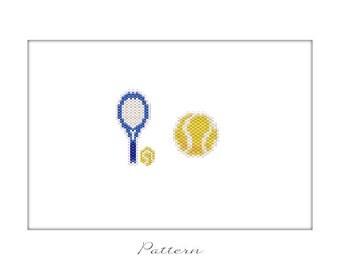 Tennis Racket Tennis Ball Set, Charms Jewelry Beading PATTERN, Brick Peyote Stitch Bead Weaving