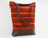 1978 Boho Handbag- Orange Striped Made of Ford Thunderbird Fabric- Full Sized