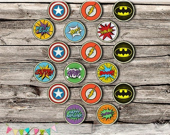 "Comic Book Superhero 2 "" Decorative Party Logos - Editable - Printable - DIY - Digital File - INSTANT DOWNLOAD - Shower - Wedding"
