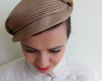 vintage 1950s Cap Style Hat in Silk Taupe / 50s Vogue Mont Cocktail Hat in Beige
