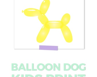 Balloon Dog Print, Yellow Nursery Art, Girls Nursery Art, Nursery Printables, Playroom Art Printable, Kids Room Art, Nursery Art Girl