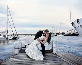 Wedding, engagement or anniversary portrait from photo, large oil painting on canvas. 100% money-back guarantee