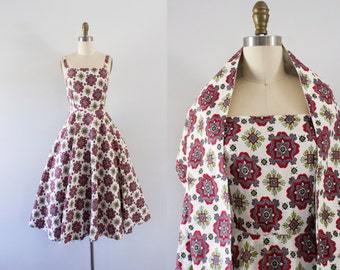1950s Sweet Romance cotton spring dress / 50s matching shawl