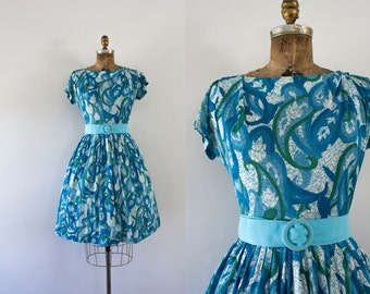 1960s Aquatic Soiree nylon day dress / 60s ocean beauty