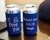 Personalized Let Love Brew Bridal Wedding Favors, Wedding Can Coolers, Custom Beverage Insulators, Beer Huggers