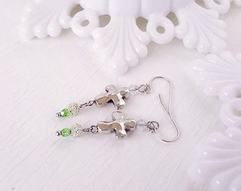 Cross Earrings with Red or Green Swarovski Crystal Dangles