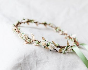 cream gold green berry leaf hair wreath // bridal wedding flower crown headband rustic forest garden spring woodland headpiece