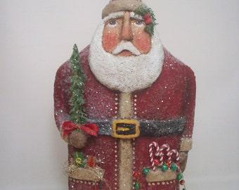 Santa Folk Art Paper Mache Primitive