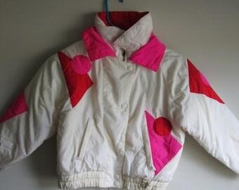 Vintage 90s Neon Girls Puffer Jacket Coat