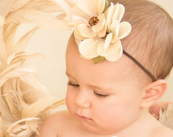 Magnolia Couture Flower Baby Headband, Brown Headband, Flower Girl Headband, Infant Headband, Toddler Headband, Newborn Headband, Photo Prop