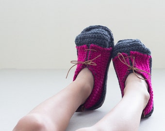 Big Kids House Sneakers in fuchsia and dark grey - Boot-laced Booties Made for Walking - Teens USA sizes 1-3/EUR sizes 32-34