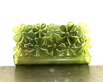 vintage soap dish - 1950s-60s mid century green flower soap holder