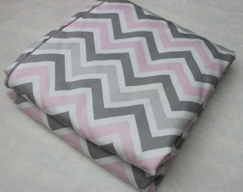 Gray and Pink Chevron Blanket