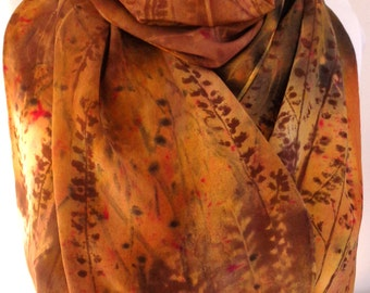 silk scarf Winter Sunset crepe large long unique luxury painted art to wear gold brown