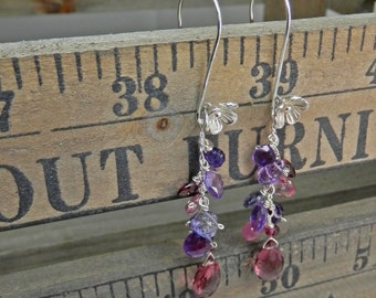 Sterling Silver Flower and Gemstone Briolette Sterling Silver Earrings