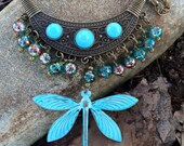 Patina Beaded Dragonfly Necklace with Brass Chain